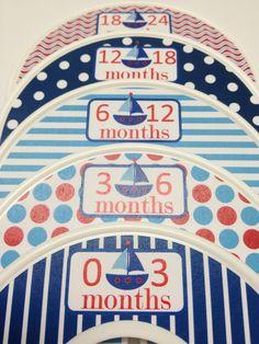 5 Custom Baby Closet Dividers - Red White Blue Nautical Sailboats - Baby Boy Shower Gift Nursery - Custom Baby Closet Clothes Organizers.