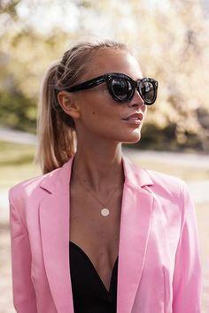 Pink blazer style #sunglasses