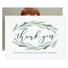 #Green Olive Branch Wreath Wedding Thank You Photo Card - #weddinginvitations #wedding #invitations #party #card #cards #invitation #photo