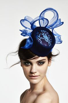 Lisa Tan millinery A/W 2014, Ursula - midi pillbox with Octopussies printed silk centre and wool felt outer, trimmed with mirror organza ribbons. GBP 349.00. #passion4hats