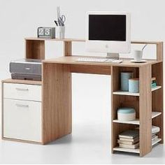 Rocco Wooden Computer Desk In Canadian Oak And White With 1 Door, 1 Drawer And Open Compartments making it perfect piece to add at your work place or home office use. This Contemporary Desk is craf. Contemporary Home Offices, Contemporary Desk, Printer Shelf, Office Table Design, Large Sideboard, Office Computer Desk, Home Office Chairs, White Furniture, Reading Table