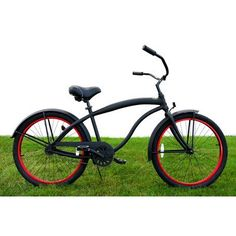 SALE Men's Single Speed Aluminum Beach Cruiser Frame Color: Flat Black with Red Wheels