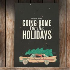 """""""Home For The Holidays"""" Holiday Card by the Nimbus Factory Christmas Mood, 12 Days Of Christmas, Christmas Music, Christmas Is Coming, Christmas Signs, Xmas Holidays, Christmas Ideas, Holiday Greeting Cards, Winter Time"""