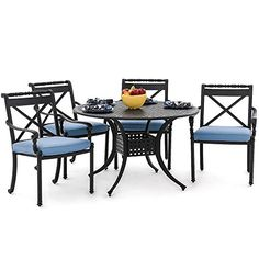 Carrolton 5 Piece Cast Aluminum Patio Dining Set With Stacking Chairs  Round Table By Lakeview Outdoor Designs  Canvas Sky Blue *** Check this out by going to the link at the image.