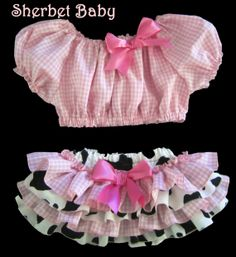 Best 11 Howdy Y'all Original Design & Pattern 4 Ruffle Pink Gingham Cow Print Poor Boy Peasant Midriff Crop Top Cow Birthday Parties, Cowgirl Birthday, Farm Birthday, Ruffle Diaper Covers, Pink Gingham, Cow Print, Cute Baby Clothes, Little Girl Dresses, Baby Dress
