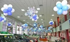 Excite your customers with some eye-catching ceiling decor for your next big promotion. Balloon Ceiling, Balloon Tree, Balloon Display, Ceiling Decor, Dance Decorations, Christmas Decorations, Holiday Decorating, School Holiday Party, Christmas Carnival