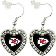Touch by Alyssa Milano Kansas City Chiefs Sterling Silver Crystal Heart Earrings