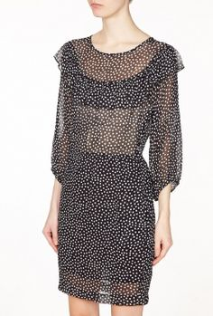 Black Long Sleeve Spotted Dress by Ganni