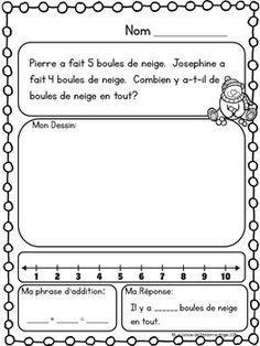 Hiver: Math Printables in French (addition. by La classe de Madame Angel French Teaching Resources, Math Resources, Math Addition, Addition And Subtraction, Subtraction Strategies, 1st Grade Math, Grade 1, Nonsense Words, Numbers Kindergarten