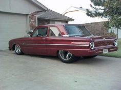 Early 60's pro street Falcon, nicely done.
