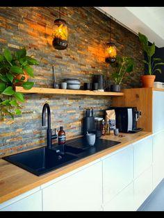 Industrial Kitchen Design, Kitchen Room Design, Kitchen Sets, Modern Kitchen Design, Home Decor Kitchen, Interior Design Kitchen, Kitchen Furniture, Home Kitchens, Rustic Industrial Kitchens
