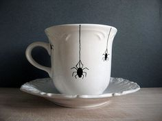 Halloween - Teacup - Spiders-  Hand Painted Tea Cup