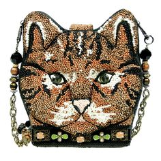 Mary Frances Boots Cat Miss Kitty Brown Beaded Purse Bag Handbag Sp 2015 NEW  #MaryFrances #EveningBag