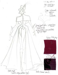 1x09 The Evil Queen Travels. Eduardo Castro\s sketch for the Evil Queens outift