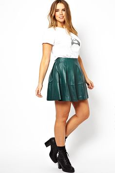ASOS CURVE Skater Skirt In Leather, $47.99, available at ASOS.