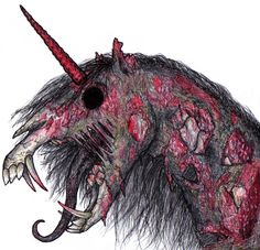 Zombie unicorns. They're not scary, they're terrifying. I'd still ride one.    http://hopeforzombies.com/zombie-unicorn/