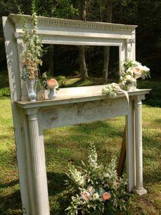 Rustic, Romantic Ceremony Altar :  wedding rustic romantic vintage antique inspiration ceremony diy Mantle 2