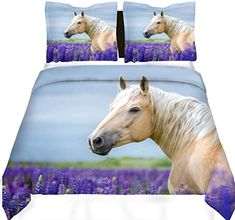 Feelyou Boys Bedding Sets for Kids Teens Girls Youth Horse Print Duvet Cover Steed Lavender Print Bed Cover Wild Animal Bedspread Cover Decorative Wildlife Purple Floral Nature Comforter Cover Full Comforter Cover, Duvet Cover Sets, Horse Bedrooms, Boys Bedding Sets, Horse Bedding, Horse Print, Bedspread, Bed Covers, Comforters