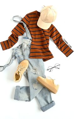 Brown Striped Tight T-shirt with overall denim pants and sneakers from romwe.com