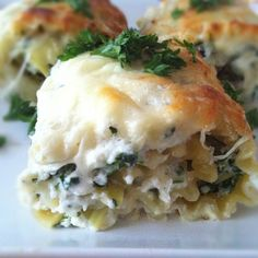 Spinach Artichoke Lasagna Roll Ups with Cream Cheese Sauce