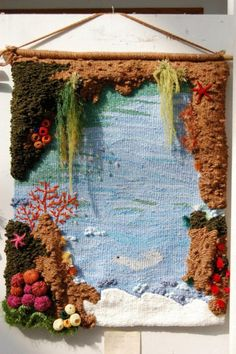 I like the frame aspect of this one. It makes me see a window overlooking a garden with a pond . Weaving Loom Diy, Weaving Art, Tapestry Weaving, Hand Weaving, Weaving Projects, Diy Craft Projects, Diy And Crafts, Arts And Crafts, Weaving Wall Hanging