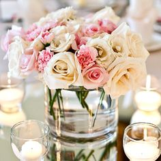 So simple and beautiful. Wedding table centerpiece