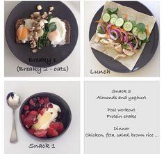 Kayla Itsines Workout, Lunch Snacks, Post Workout, Brown Rice, Feta, Almond, Salad, Chicken, Dinner