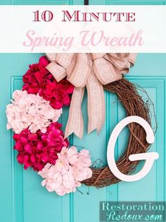 Make a beautiful spring door wreath using faux flowers in only 10 minutes.