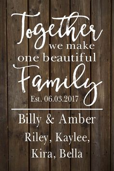 Custom Name Blended Family Name Sign Monogram Rustic Inspired Wood Sign or Canvas Wall Hanging - Wedding, Anniversary Gift, Housewarming