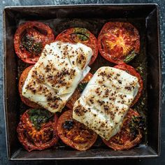 Black Pepper Halibut Steaks with Roasted Tomatoes