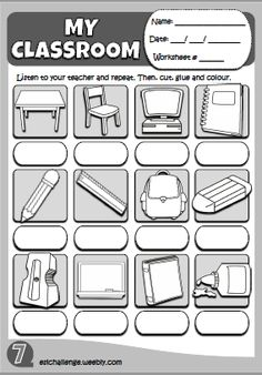 classroom objects - worksheet http://eslchallenge.weebly.com/hello-kids-1.html