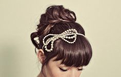 Rhinestone Bow Headband $58 - I love this, and I am pretty sure I could make it.