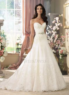 A-Line/Princess Strapless Sweetheart Court Train Satin Tulle Wedding Dress With Sash Beading Appliques Lace
