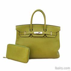 Hermes 35cm Chartreuse Clemence Birkin w/ Palladium Hardware AND FREE Vision Zip Agenda!! Shop this item on faairy.com