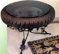 DIY Möbel Autoreifen autoreifen recycling metall gestell