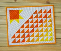 Radiant Mini Quilt Published in Quiltmaker – Monday Morning Designs Quilt Ladder, Orange Quilt, Mini Quilt Patterns, Farmhouse Fabric, Charm Quilt, Place Mats Quilted, Quilted Gifts, Fall Quilts, Mug Rugs