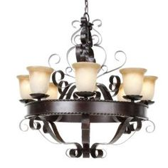 8-Light Chandelier with Vintage Amber Glass - Oil Rubbed-HD-MA44442246 at The Home Depot
