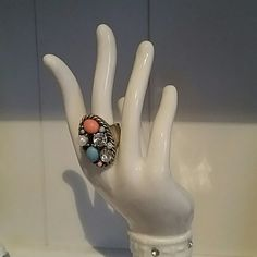 Fancy Fashion Ring Blue and pink beads with faux diamond gems. Not worn often, but the band shows wear, which is reflected in the price. Invisible when looking at the ring design itself! Fits a size 8 very comfortably. Fashion Bug Jewelry Rings