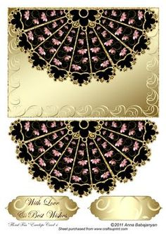 """Floral Fan Envelope Card 4 on Craftsuprint designed by Anna Babajanyan - Beautiful card designed with my scalloped fan design and decorated with my new swirly flowers designs. For a background for this card I used my """"Swirly Waves"""" metallic background which is perfectly completing the whole design. """"With Love"""