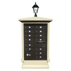 Short CBU Stucco Mailbox Center Column with Solar Lamp