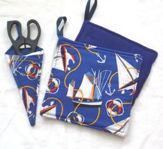 Nautical Kitchen Potholders and Scissor holder, 3 pc set Ships Handmade by Sewinggranny by sewinggranny on Etsy