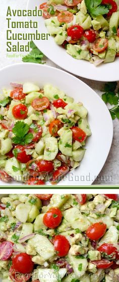 and quick to prepare this Avocado Tomato Cucumber salad will surprise ...