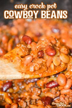 Easy Crock Pot Cowboy Beans - Recipes That Crock! These Easy Crock Pot Cowboy Beans are fantastic as a flavorful side dish and perfect as a hearty bo Bean Recipes, Chef Recipes, Side Dish Recipes, Cooking Recipes, Slow Cooking, Yummy Recipes, Recipies, Yummy Food, Easy Cooking