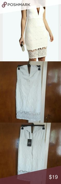 Lace overlay bandeau bodycon dress Sexy white Lace overlay bandeau bodycon dress, size 10, 28inches in length. Boohoo nights Dresses
