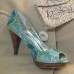 """Gorgeous Floral Peep Toe Heels Style & Co. Celine Heels. 4"""" heel. Heels and soles have almost no wear. Only worn around the house. They look like Impressionistic watercolor with white, blues and greens. Truly gorgeous! Style & Co Shoes Heels"""