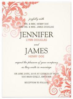 Customizable Coral Wedding Invitation.