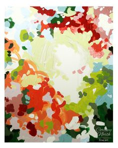Flower Garden Abstract 16x20 Original painting by Cortney North, cottage decor, english garden room, floral painting on Etsy, $350.00