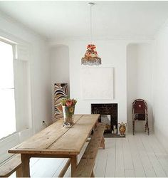 Beautiful dining/ narrow farmtable