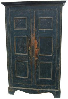 18th century Linen Press with wonderful blue paint