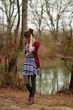 striped skirt button down shirt red sweater